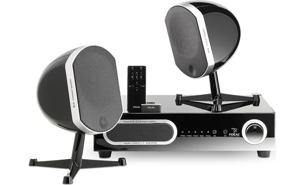 Focal Bird Pack 2.1 System in black (pictured with included remote and optional iPod® wireless dongle)