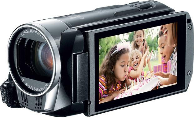 Canon VIXIA HF R300 Front, 3/4 view, touchscreen display angled outwards