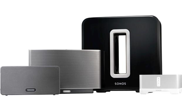 Sonos SUB Shown with the Sonos family of music players