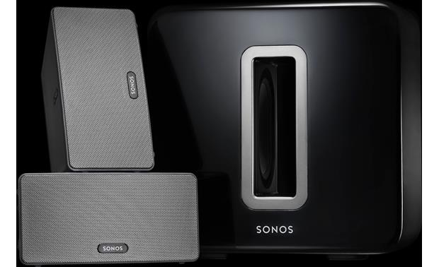 Sonos SUB Shown with Sonos music players (not included)