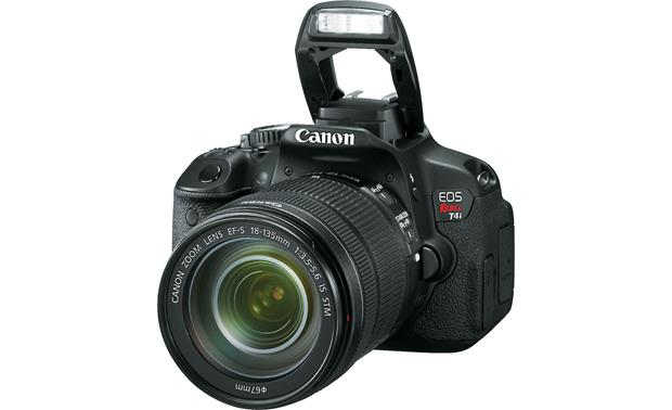 Canon EOS Rebel T4i Kit with 18-135mm Lens Front, 3/4 angle, with flash deployed