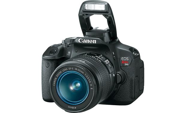 Canon EOS Rebel T4i Kit with 18-55mm Lens Front, 3/4 angle, with flash deployed