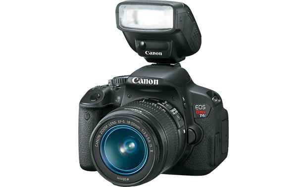 Canon EOS Rebel T4i Kit with 18-55mm Lens Front, 3/4 angle, with external flash attached (not included)
