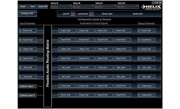 Helix P-DSP Configuration screen
