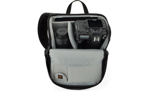 Lowepro Urban Photo Sling 150 shown fully loaded with cameras, accessories, and tablet (not included)