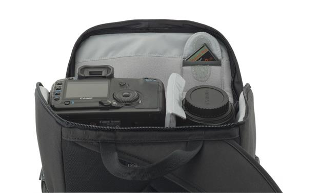 Lowepro Urban Photo Sling 250 shown fully loaded with cameras, accessories, and tablet (not included)