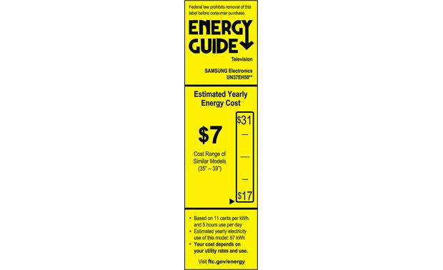 Samsung UN37EH5000 Energy Guide