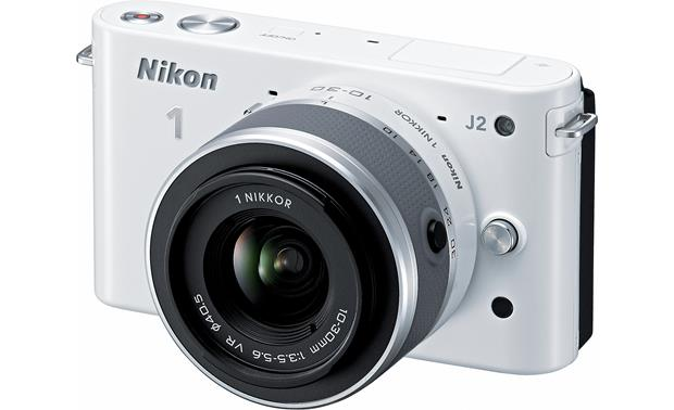 Nikon 1 J2 with 10-30mm VR Lens Front (White)