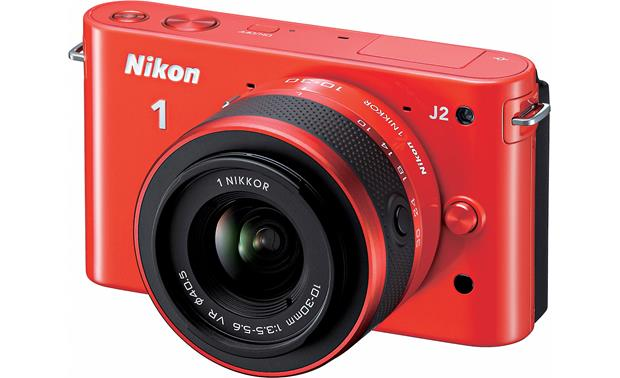 Nikon 1 J2 with 10-30mm VR Lens Front (Orange)