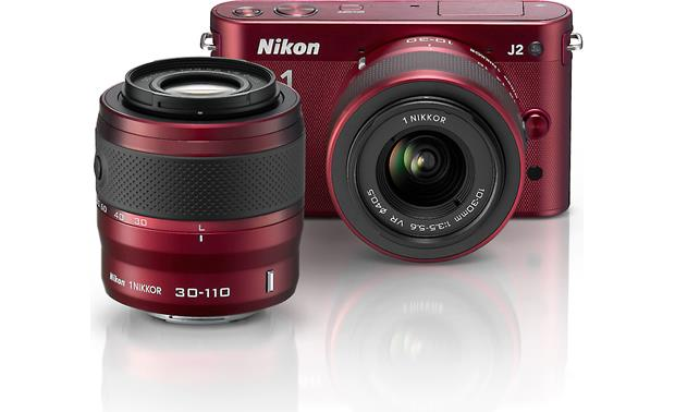 Nikon 1 J2 Dual Lens Kit with 10-30mm and 30-110mm VR lenses Front (Red)