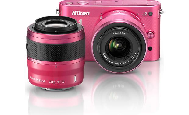 Nikon 1 J2 Dual Lens Kit with 10-30mm and 30-110mm VR lenses Front (Pink)