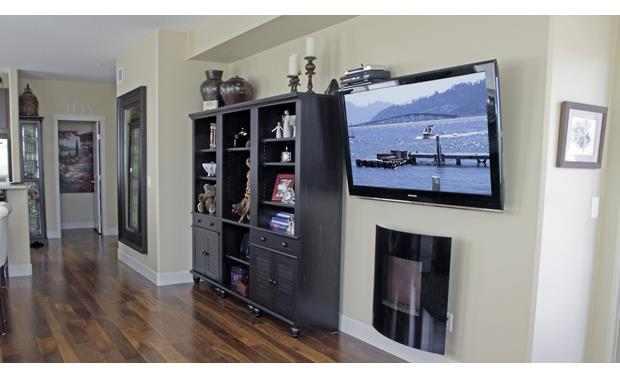 Center Stage Bracket CSB-1210-BLK Shown attached to TV (components not included)