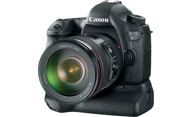 Canon EOS 6D Kit Front, 3/4 view from right, shown with optional battery grip (not included)