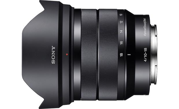 Sony SEL1018 10-18mm f/4 Top view, with lens hood