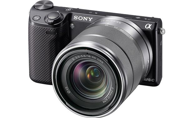 Sony Alpha NEX-5R (no lens included) Front, 3/4 view, with lens (not included)