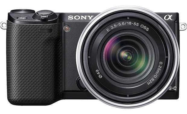 Sony Alpha NEX-5R (no lens included) Front, straight-on, with lens (not included)
