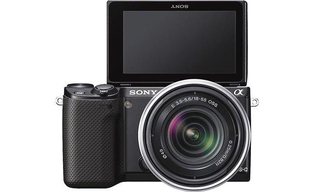 Sony Alpha NEX-5R with 3X Zoom Lens Front, straight-on, LCD rotated toward front