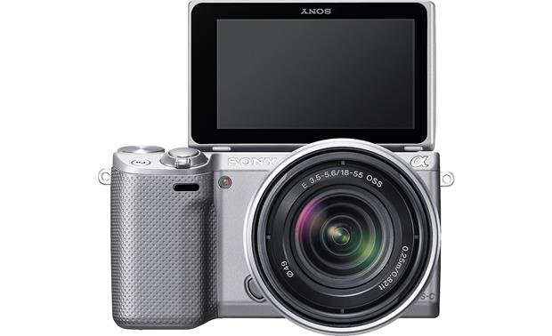 Sony Alpha NEX-5R with 3X Zoom Lens Front, straight-on, with touchscreen display flipped 180 degrees for self-portraits