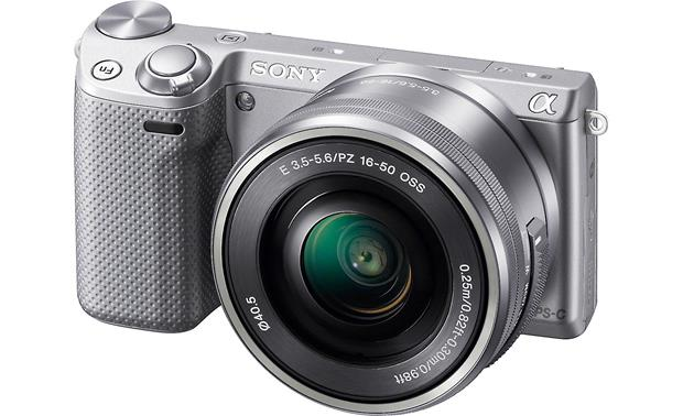 Sony Alpha NEX-5R with Low-profile 3X Zoom Lens Front (Silver)