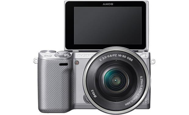 Sony Alpha NEX-5R with Low-profile 3X Zoom Lens Front, straight-on, with touchscreen display flipped 180 degrees for self-portraits