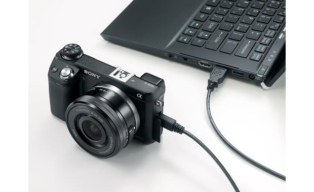 Sony Alpha NEX-6 Shown connected via USB to a laptop (not included)