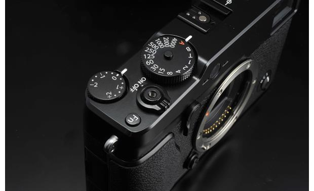 Fujifilm X-Pro1 (no lens included) Top 3/4 view, featuring top mounted controls