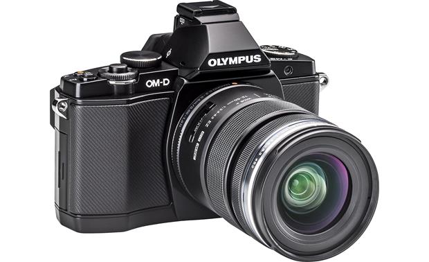 Olympus OM-D E-M5 4.2X Zoom Lens Kit Front, 3/4 view, from left