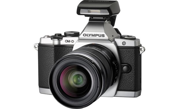 Olympus OM-D E-M5 4.2X Zoom Lens Kit Front, 3/4 angle, from right, with included flash