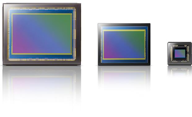 Sony Cyber-shot® DSC-RX1 The RX1's full-frame sensor (left) compared to APS-C (center) and traditional point-and-shoot (right) sensors