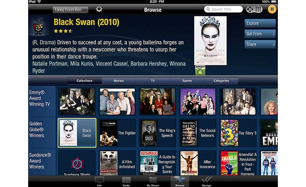 TiVo® Stream Menu screen - Browse