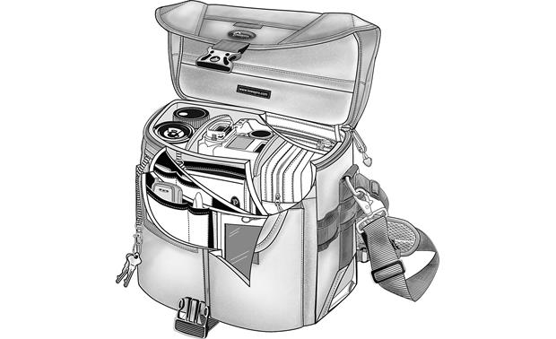 Lowepro Stealth Reporter D200 AW Cutaway rendering of fully-packed bag (gear not included)