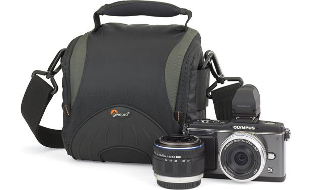 Lowepro Apex 110 AW Shown with Olympus hybrid camera and lens for scale (not included)