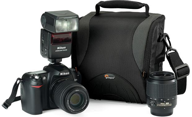Lowepro Apex 140 AW Shown with camera and accessories for scale (not included)