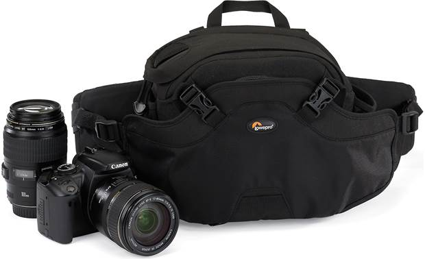 Lowepro Inverse 100 AW Made for pro DSLR with attached lens and extra lens (not included, Black model shown)