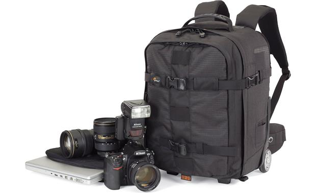 Lowepro Pro Runner x350 AW Can hold a DSLR with attached lens, laptop, tripod and other accessories (not included)