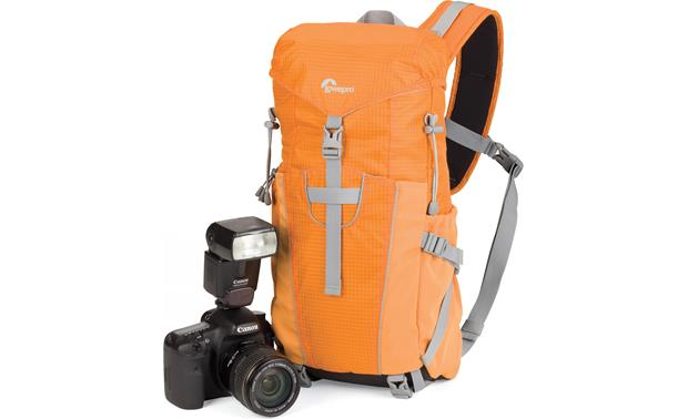 Lowepro Photo Sport Sling 100 AW (Orange) Shown with DSLR, lens and flash (not included)