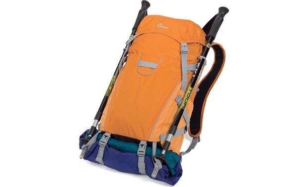 Lowepro Photo Sport 200 AW (Orange) Shown loaded with clothing and hiking poles (not included)