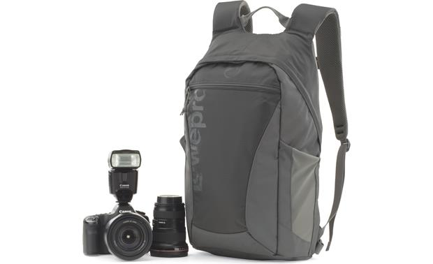 Lowepro Photo Hatchback 22L AW Shown with camera and accessories for scale (not included)