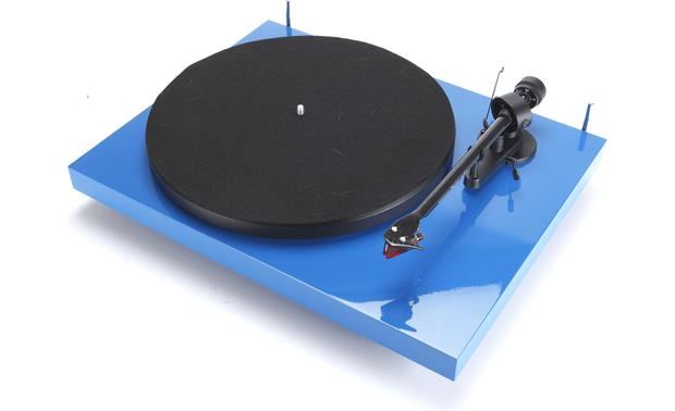 Pro-Ject Debut Carbon Gloss Blue (shown with dust cover removed)