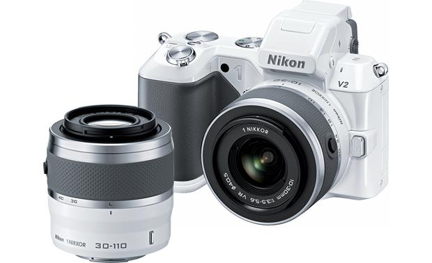 Nikon 1 V2 Camera with Two Zoom Lenses Front