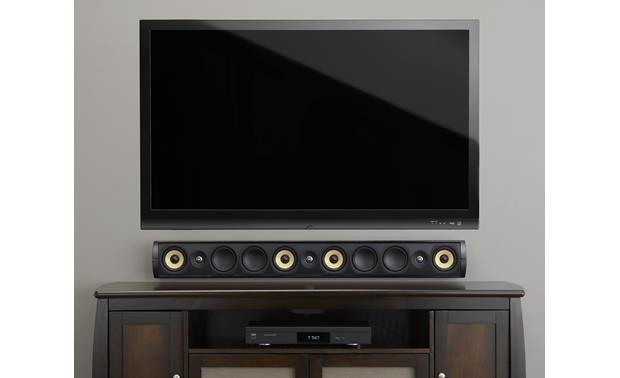 PSB Imagine W3 Pictured wall mounted with flat-panel TV (grille removed)