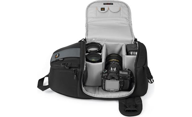 Lowepro Slingshot 202 AW Interior showing carrying capacity with DSLR and lenses (not included)