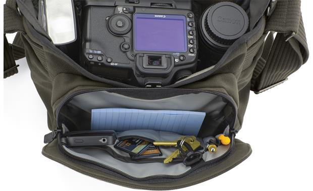 Lowepro Pro Messenger 160 AW interior and zippered compartments, with camera and accessories (not included)