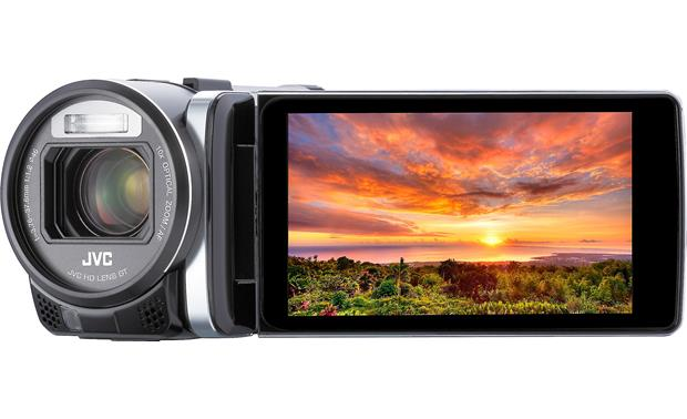JVC Everio GZ-GX1 Front, straight-on, LCD rotated toward front