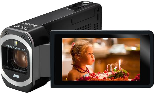 JVC Everio GZ-VX700 Front, 3/4 view, touchscreen display angled outwards
