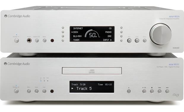 Cambridge Audio Azur 851A Shown with the companion Cambridge Audio Azur 851C DAC/CD player/digital preamp (not included)