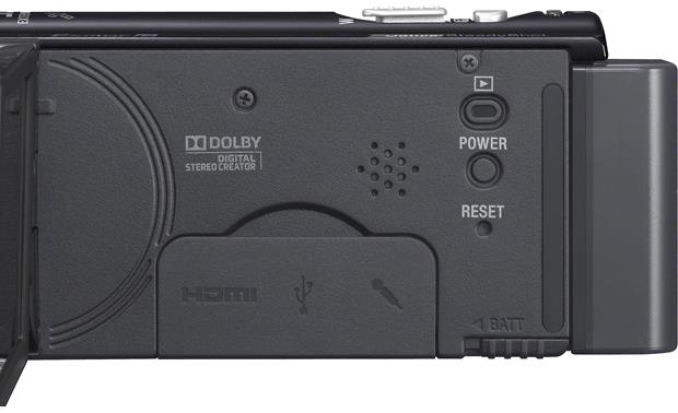 Sony Handycam® HDR-CX260V controls and connector panel (closed)