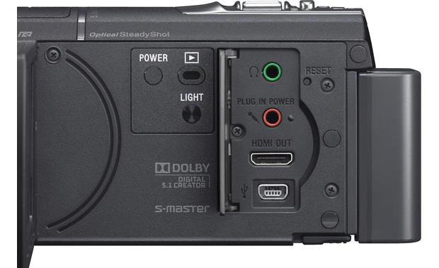 Sony Handycam® HDR-CX580V controls and connector panel (open)