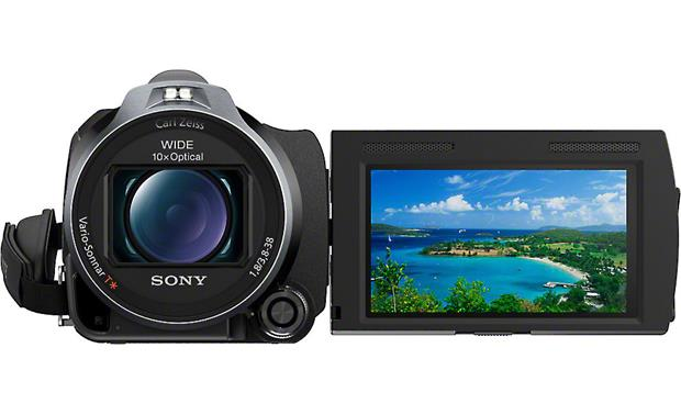 Sony Handycam® HDR-PJ760V Front, with flip-out LCD touchscreen display rotated forward