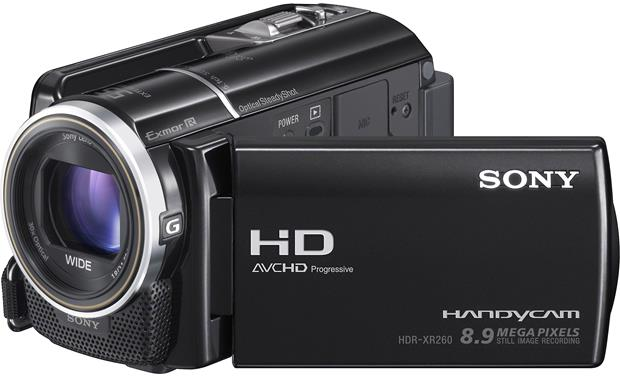 Sony HDR-XR260V Front, 3/4 view, touchscreen display angled outwards